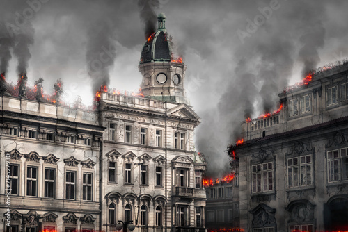 Destroyed burning building. Digital illustration Wallpaper Mural
