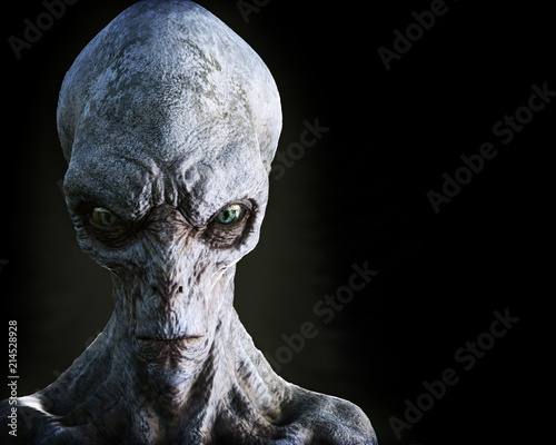 Photo Portrait of an alien male extraterrestrial on a dark background with room for text or copy space