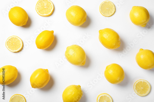 Beautiful composition with lemons on white background