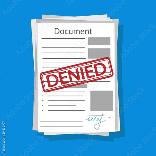 Fotografía  Denied document illustration. Vector.