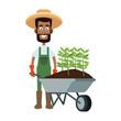 Farmer man with wheelbarrow vector illustration graphic design