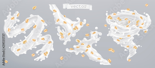 Canvastavla Rolled oats and milk splashes, 3d realistic vector icon