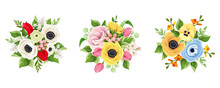 Vector Set Of Red, Pink, Orange, Yellow, White And Blue Flowers Isolated On A White Background.
