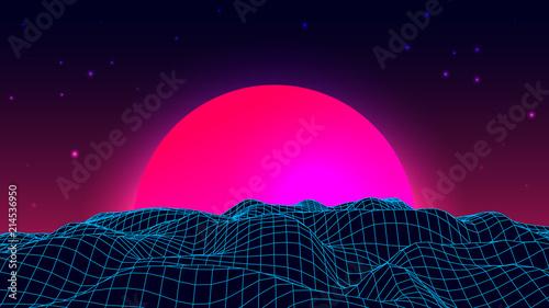 Fototapeta Wireframe background landscape. 1980s retro wave style. Sci-Fi futuristic vector illustration of sunrise or sunset. obraz na płótnie