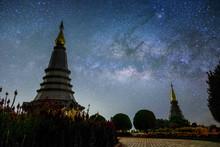 Milky Way Rises Doi Inthanon National Park Over The Pagoda Nabhamethanidol And Nabhapolbhumisiri , Thailand