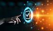 Leinwandbild Motiv Standard Quality Control Certification Assurance Guarantee Internet Business Technology Concept