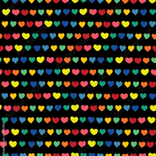 Rainbow Hearts Hand Drawn On A Black Background Vector Seamless Pattern Blue Green Orange Yellow Pink And Red Handmade Hearts In A Row Line Of Hearts Perfect For Backgrounds Fabric Paper