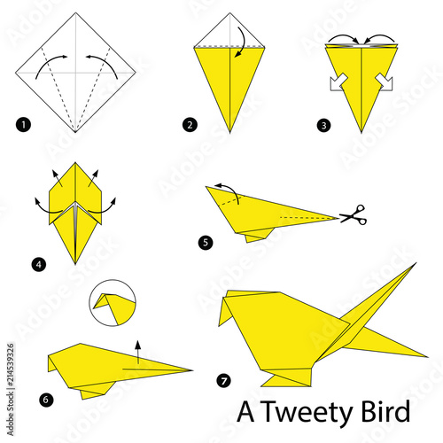 step by step instructions how to make origami A Bird Tableau sur Toile