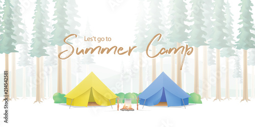 Obraz Summer Camp Poster or banner that the yellow & blue camp is middle in the forest illustration vector. Camping concept. - fototapety do salonu