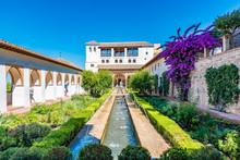 Patio De La Acequia Of The Generalife, Granada, Spain.