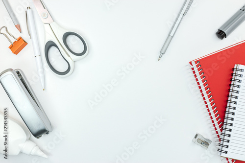 Cuadros en Lienzo various of stationary items for office work on white table background
