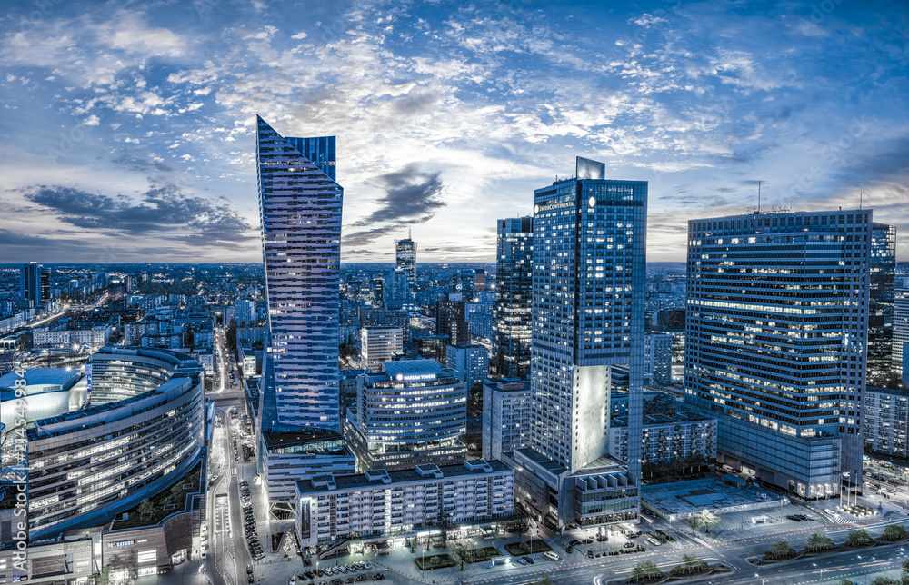 Fototapety, obrazy: Warsaw city with modern skyscraper at sunset