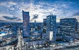 Fototapeta Miasto - Warsaw city with modern skyscraper at sunset