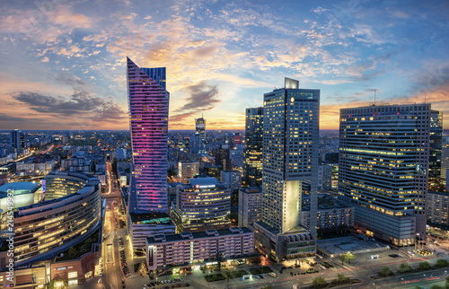 Fototapeta Warsaw city with modern skyscraper at sunset-Panorama obraz