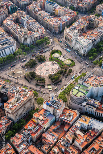 Aerial view of Placa de Catalunya with typical urban design, Barcelona