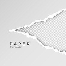 Gray Ripped Open Paper With Transparent Background. Torn Paper Sheet. Paper Texture. Vector Illustration