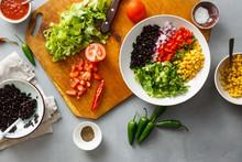 Prepared Ingredients Preparation Taco Salad Top View