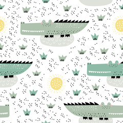 Vector seamless pattern with alligators. Perfect for kids fabric, textile, nursery wallpaper. Creative kids texture for fabric, wrapping, textile, wallpaper, apparel. Vector illustration