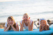 Three children on the beach