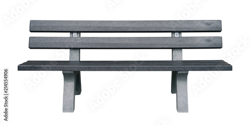 Wooden and dark gray park bench isolated on white background Wallpaper Mural