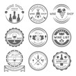 Wine shop and wine list vector monochrome labels