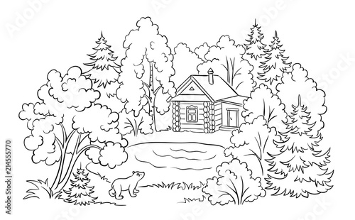 - Forest House Near A Lake - Coloring Book Illustration - Buy This Stock  Vector And Explore Similar Vectors At Adobe Stock Adobe Stock