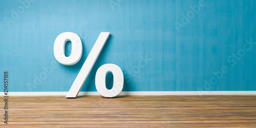 Fotografía  White Percent Sign on Brown Wooden Floor Against Blue Wall - Sale Concept - 3D I