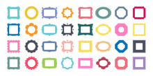 Mega Set Of Decorative Photo Frames For Your Design. Different Shapes: Square, Rectangle, Round, Oval, Star, Flower, Octagon. Vector Illustration. Big Pack Of 32 Design Elements.