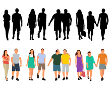 Vector, Isolated, Fashion People Go, Silhouette