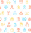 Present Gift Signs Seamless Pattern Background. Vector