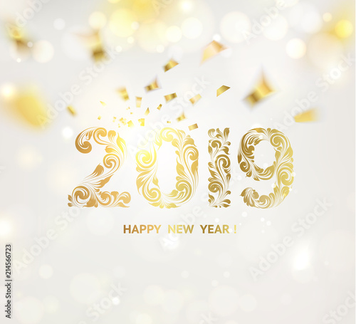 happy new year card over gray background with golden confetti happy new year 2019