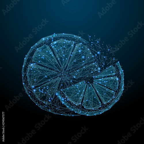 Abstract image of a orange in the form of a starry sky or space, consisting of points, lines, and shapes in the form of planets, stars and the universe. Fruit orange segments vector wireframe - 214567577