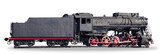 Panorama of the old steam locomotive on a white background