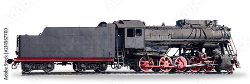 Fotomural Panorama of the old steam locomotive on a white background