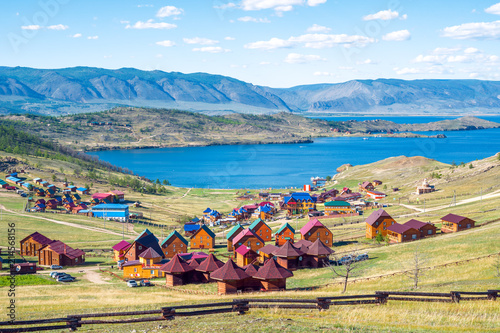 Fotobehang Asia land Beautiful views of the tourist centers and the Curkut Bay in August. Lake Baikal, Russia.