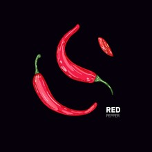 Red Hot Pepper On Black Background. Vector Color Illustration. Healthy Organic Food.