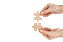 Piece Of Puzzle With Hand, Isolated On White Background. Copy Space Template