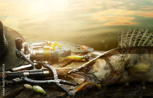 Poster Fishing Happy Fishing background; Fishing tackle and trophy zander