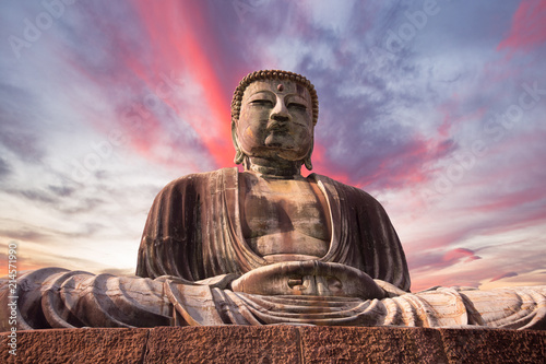 Poster Historisch mon. Great Buddha bronze statue in Kamakura, Japan