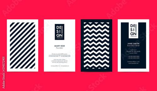 Fotografie, Obraz  Set of creative B&W Business Card Layouts with geometric elements