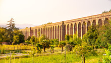 Sunny Evening At Nottolini Aqueduct Near Lucca, Tuscan, Italy.