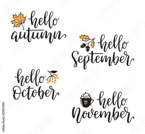 autumn calligraphy set with design elements hello autumn september october november hand