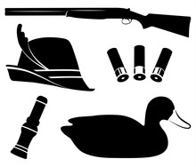 Hunting Set Vector. Duck Hunting. Shotgun, Duck Call , Decoys, Hat, Shell