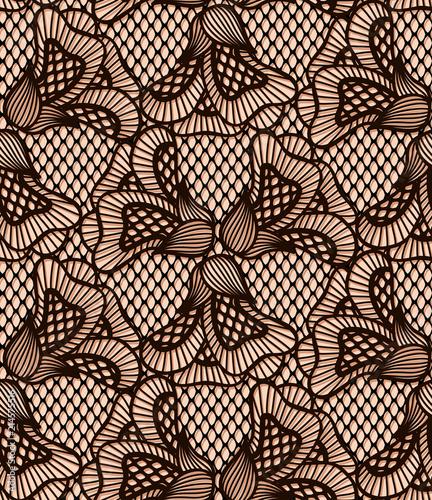 Photo Seamless black flower lace pattern, retro lace texture