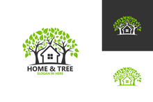 Home And Tree Nature Logo Template Design Vector, Emblem, Design Concept, Creative Symbol, Icon