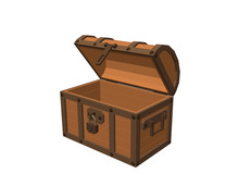 Opened Empty Wooden Chest. Iso...