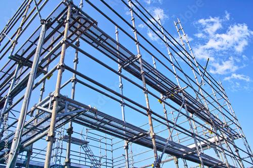 Obraz na plátně 新築住宅の建設現場の足場