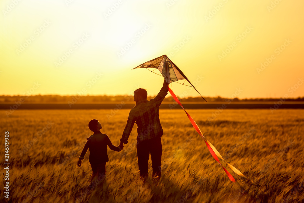 Fototapety, obrazy: Happy father and son flying kite in the field at sunset