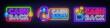 Cash Back neon signs collection vector design template. Cash Back symbols neon logo, light banner design element colorful modern design trend, night bright advertising, bright sign. Vector