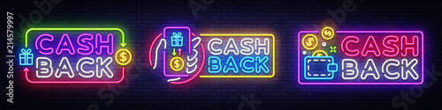 Fotografía  Cash Back neon signs collection vector design template
